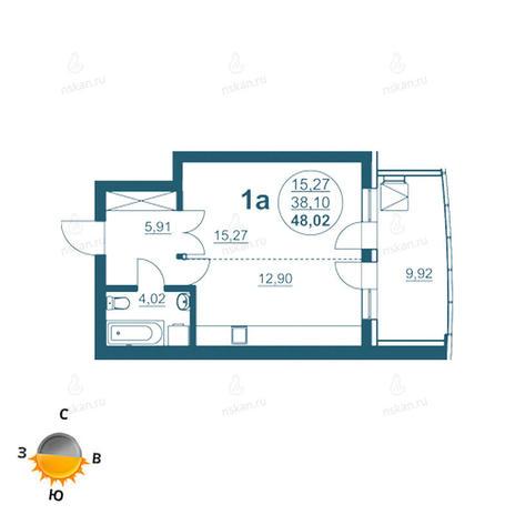 Вариант №962, 1-комнатная квартира в жилом комплексе Флотилия