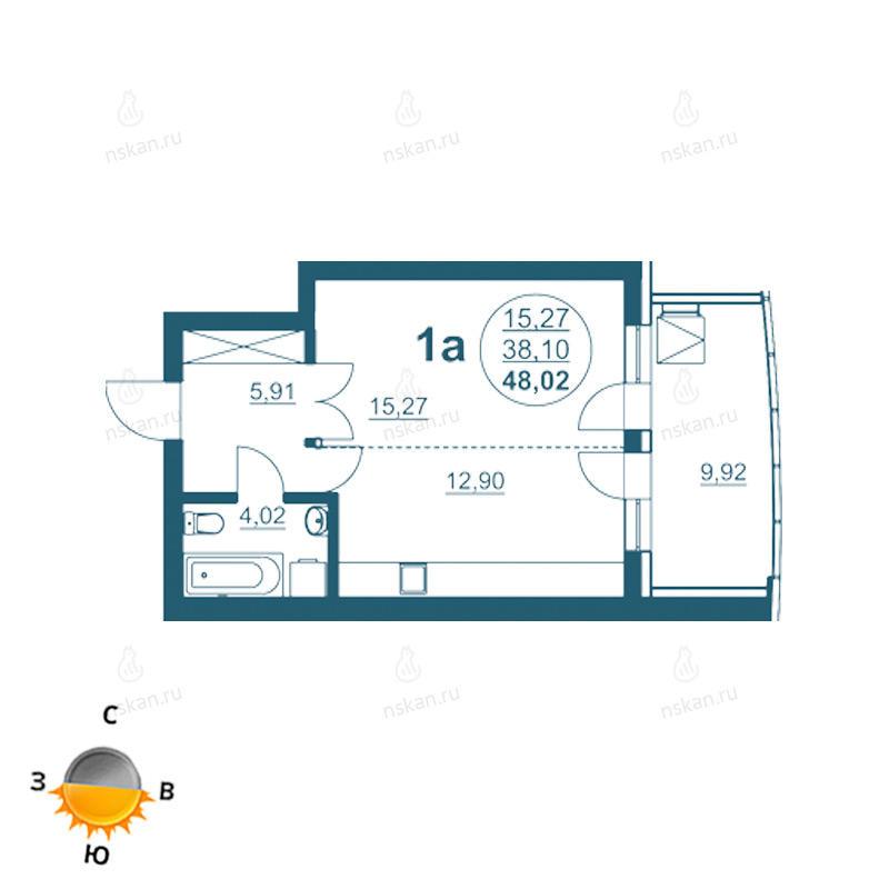 Планировка 1-комнатная площадью 48.02 м<sup>2</sup> в ЖК Флотилия