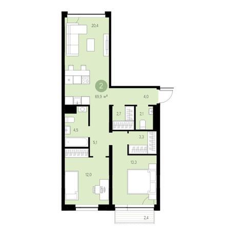 Вариант №4713, 3-комнатная квартира в жилом комплексе
