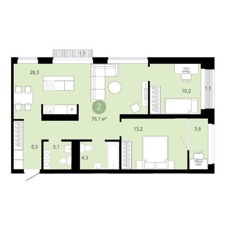 Вариант №4585, 3-комнатная квартира в жилом комплексе Европейский Берег