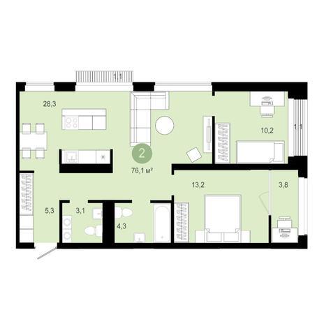 Вариант №4585, 3-комнатная квартира в жилом комплексе