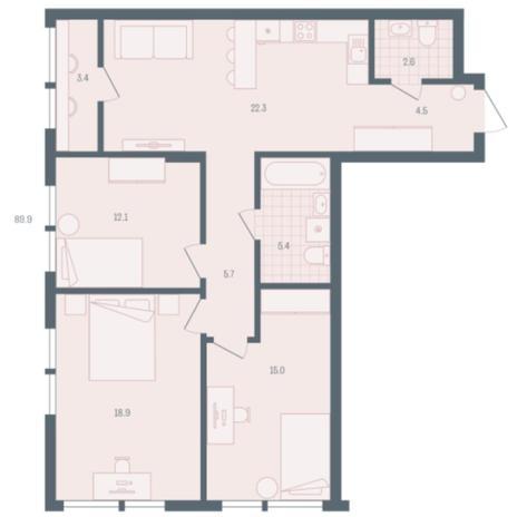 Вариант №5897, 3-комнатная квартира в жилом комплексе