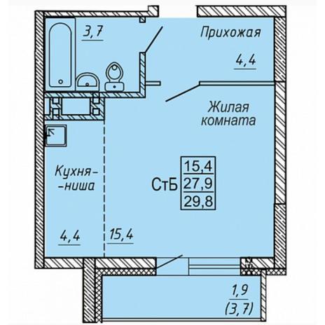 Вариант №5319, 1-комнатная квартира в жилом комплексе