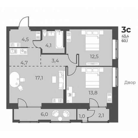Вариант №5821, 3-комнатная квартира в жилом комплексе