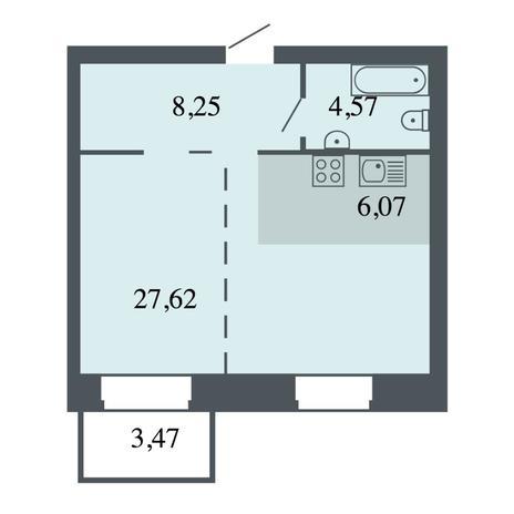 Вариант №4445, 2-комнатная квартира в жилом комплексе Спектр