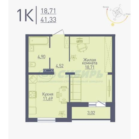 Вариант №4775, 1-комнатная квартира в жилом комплексе