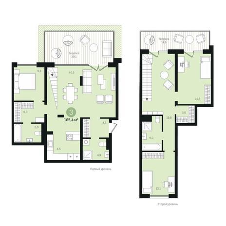 Вариант №6360, 4-комнатная квартира в жилом комплексе