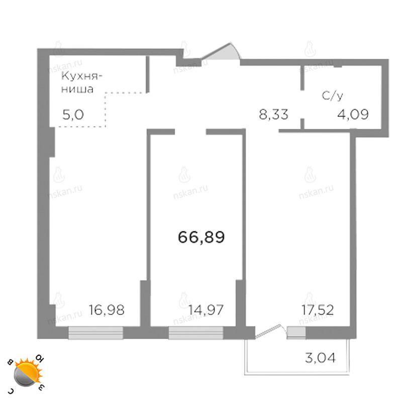 Планировка 2-комнатная площадью 66.89 м<sup>2</sup> в ЖК Ясный берег