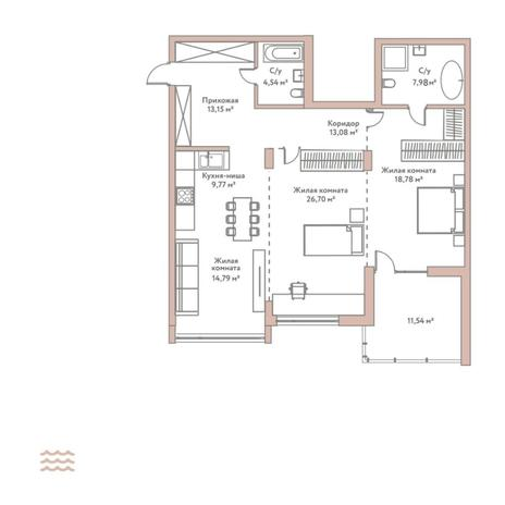 Вариант №5787, 3-комнатная квартира в жилом комплексе