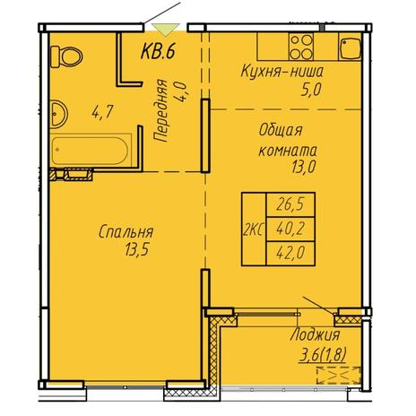 Вариант №6063, 2-комнатная квартира в жилом комплексе