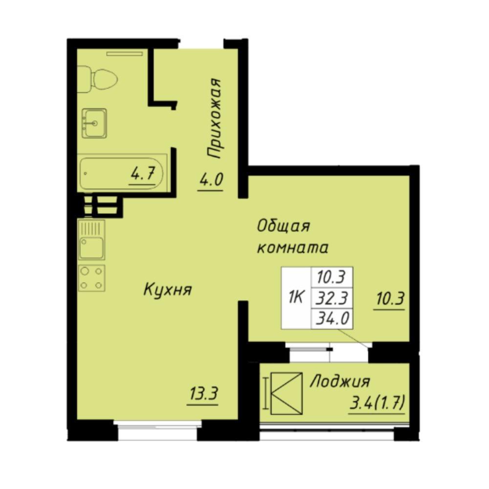 Планировка 1-комнатная площадью 34 м<sup>2</sup> в ЖК Галактика
