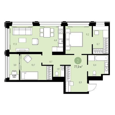 Вариант №5451, 3-комнатная квартира в жилом комплексе