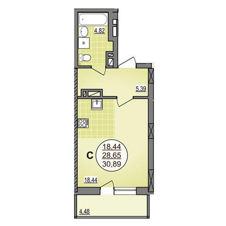 Вариант №3883, 1-комнатная квартира в жилом комплексе Гурьевский