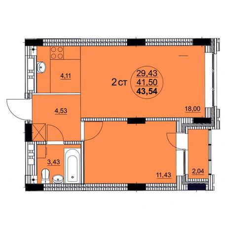 Вариант №3758, 2-комнатная квартира в жилом комплексе