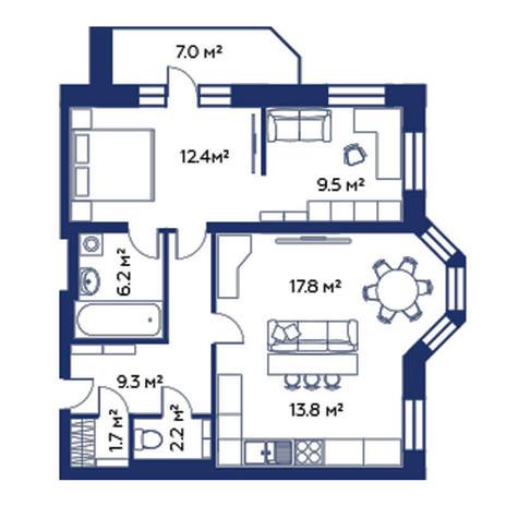 Вариант №508, 3-комнатная квартира в жилом комплексе Montblanc