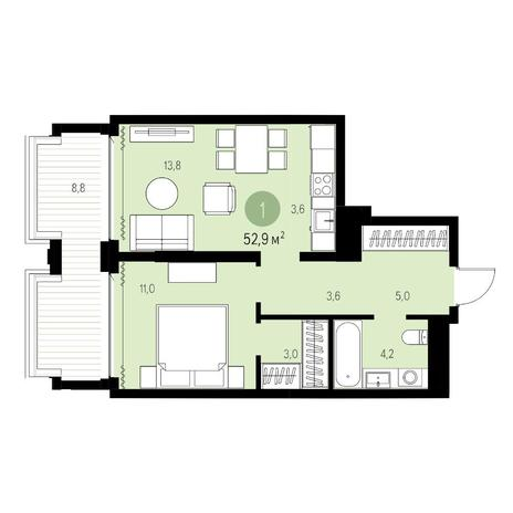 Вариант №5450, 2-комнатная квартира в жилом комплексе