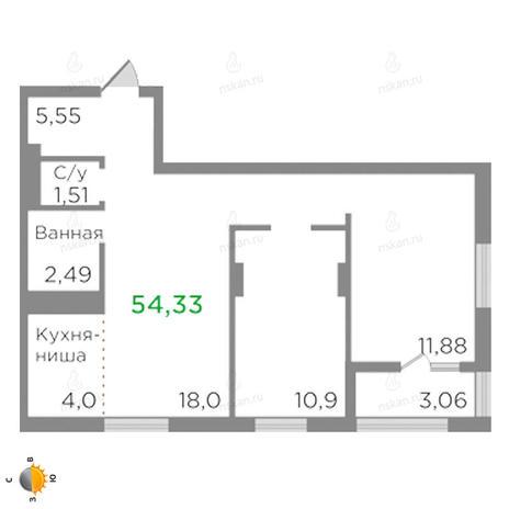 Вариант №2123, 3-комнатная квартира в жилом комплексе