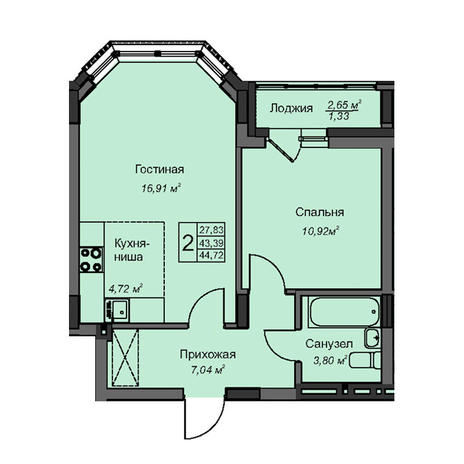 Вариант №3087, 2-комнатная квартира в жилом комплексе На Народной