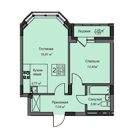 Вариант №3087, 2-комнатная квартира в жилом комплексе