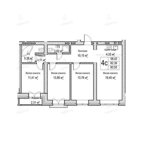 Вариант №1052, 4-комнатная квартира в жилом комплексе Потанинская 2