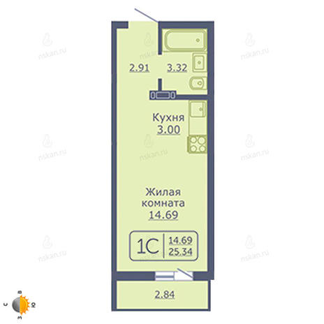 Вариант №2031, 1-комнатная квартира в жилом комплексе