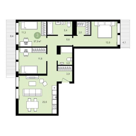 Вариант №4286, 4-комнатная квартира в жилом комплексе Ясный берег