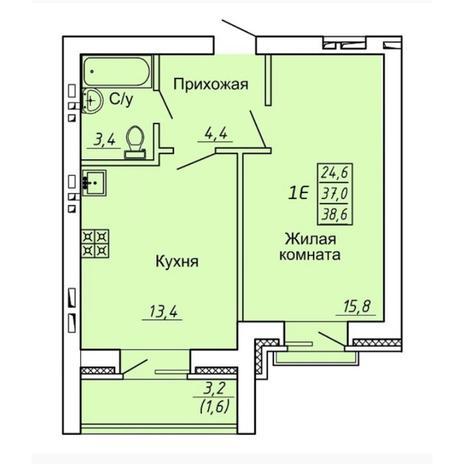 Вариант №4310, 1-комнатная квартира в жилом комплексе Ясный берег