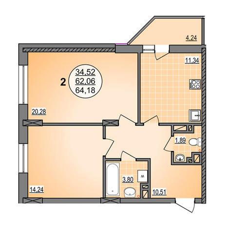 Вариант №3888, 2-комнатная квартира в жилом комплексе Гурьевский