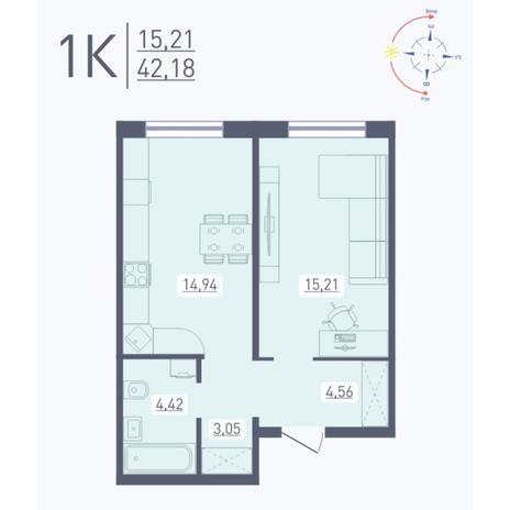 Вариант №5577, 1-комнатная квартира в жилом комплексе