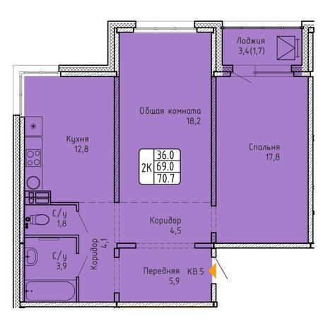 Вариант №5740, 2-комнатная квартира в жилом комплексе NOVA-дом