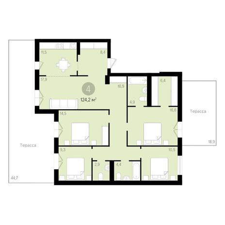 Вариант №3462, 4-комнатная квартира в жилом комплексе Дунаевский