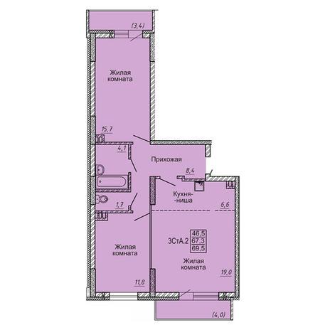 Вариант №4119, 3-комнатная квартира в жилом комплексе Новые Матрешки