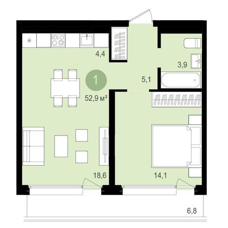 Вариант №4342, 2-комнатная квартира в жилом комплексе Спектр