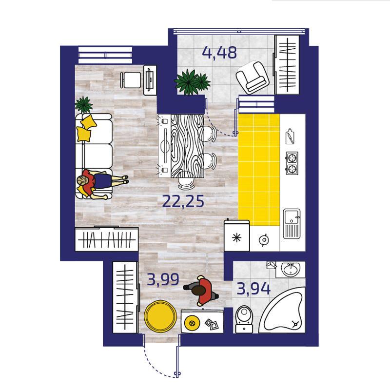 Планировка 1-комн. студия площадью 32.42 м<sup>2</sup> в ЖК Новые Снегири