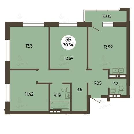 Вариант №2497, 3-комнатная квартира в жилом комплексе История