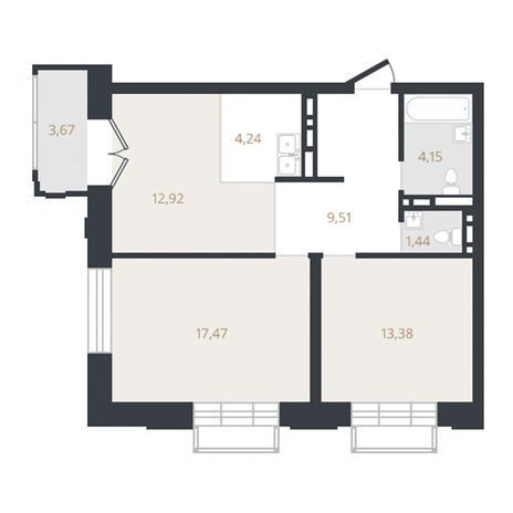 Вариант №3330, 3-комнатная квартира в жилом комплексе