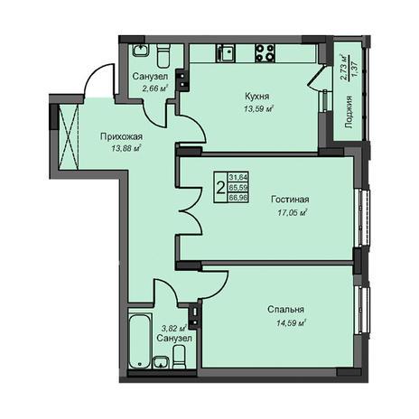 Вариант №3075, 2-комнатная квартира в жилом комплексе На Народной
