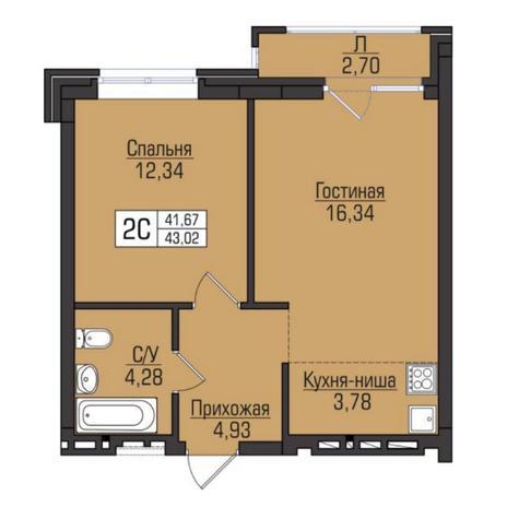 Вариант №5099, 2-комнатная квартира в жилом комплексе Цивилизация