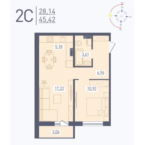 Вариант №5586, 2-комнатная квартира в жилом комплексе