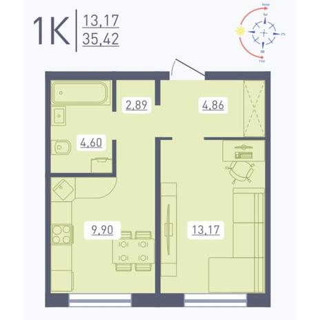Вариант №5557, 1-комнатная квартира в жилом комплексе