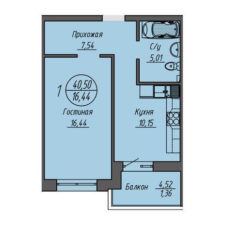 Вариант №3201, 1-комнатная квартира в жилом комплексе