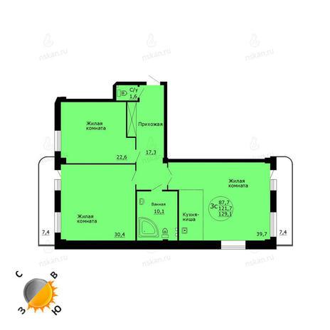 Вариант №787, 4-комнатная квартира в жилом комплексе Дождь