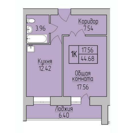 Вариант №5371, 1-комнатная квартира в жилом комплексе