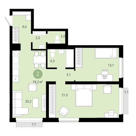 Вариант №4584, 3-комнатная квартира в жилом комплексе