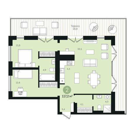 Вариант №6362, 3-комнатная квартира в жилом комплексе