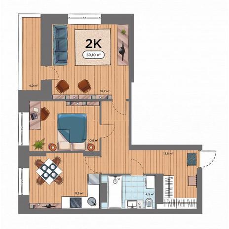 Вариант №6575, 2-комнатная квартира в жилом комплексе