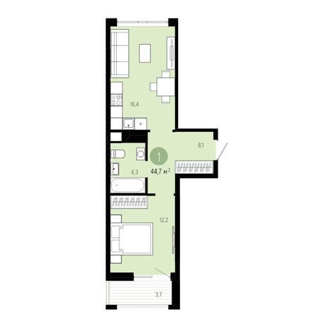 Вариант №4821, 2-комнатная квартира в жилом комплексе