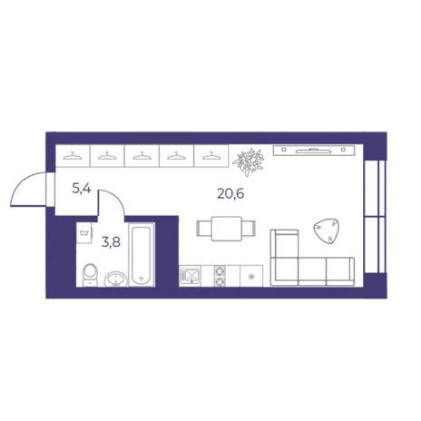 Вариант №5305, 1-комнатная квартира в жилом комплексе