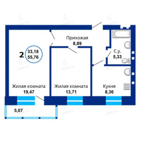 Вариант №1665, 2-комнатная квартира в жилом комплексе Бавария
