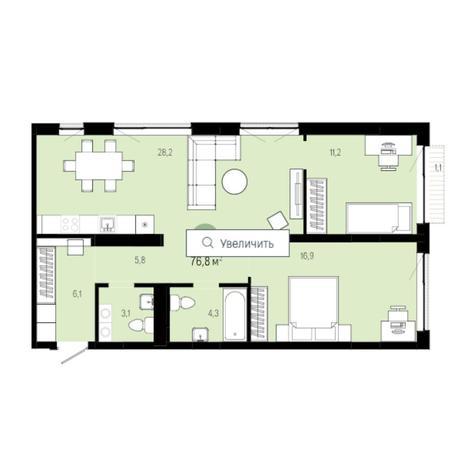 Вариант №6266, 3-комнатная квартира в жилом комплексе
